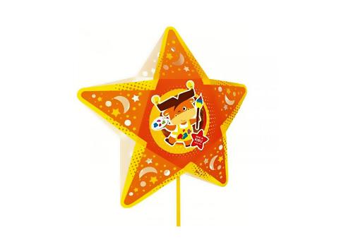 Lồng đèn sao Kibu, chủ đề không gian màu cam đậm nổi bật. Giá 130.000 đồng.