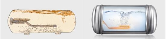 Bình nước nóng Panasonic (bên phải) không cần sử dụng thanh anode giúp người dùng không tốn thời gian và chi phí thay thế định kì