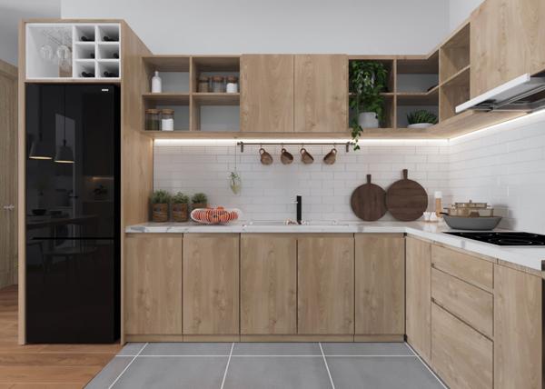 Mẫu tủ bếp chữ L với phong cách Japandi tối giản mọi chi tiết với màu sắc trang nhã và chi tiết tinh tế cho góc căn hộ chung cư