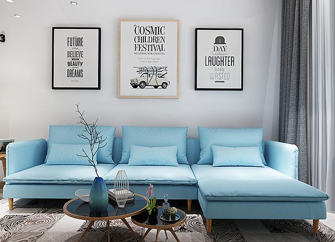 Ghế sofa xanh nhạt công nghệ châu Âu tương thích với những mảng tường trắng. Sofa K800 là gơi ý cho bạn, kích thước gọn, nệm ghế ngồi có thể tháo rời. Áo gối và áo bọc nệm tháo ra giặt được nên tiện lợi cho việc vệ sinh. Sản phẩm đang giảm 11 %, còn 16,9 triệu (giá gốc 18.988.764 đồng).