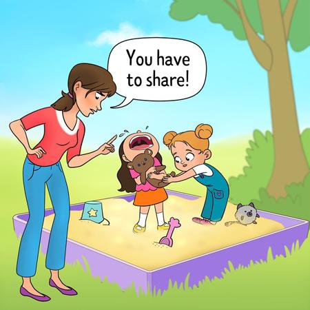 Ép con chia sẻ sẽ khiến trẻ không biết đòi hỏi quyền lợi của mình. Ảnh: Brightside.