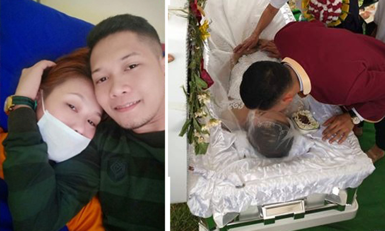 Ryan bên bạn gái lúc cô bị bệnh (trái)và vào ngày đưa tang cô. Ảnh: facebook.