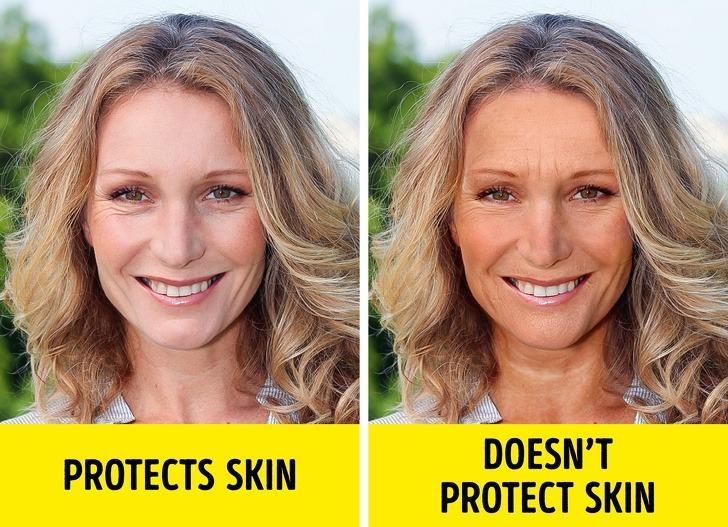 Làn da ngày nay được bảo vệ tốt hơn, nên mang lại vẻ trẻ trung lâu dài hơn (trái).