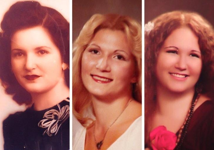 Ba thế hệ trong một gia đình. Từ trái sang, bà, mẹ và cháu gái ở cùng một độ tuổi.