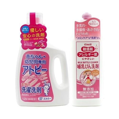 Combo nước giặt em bé và rửa bình sữa Elmie đang giảm 27%, còn 442.000 đồng (giá gốc 605.000 đồng). Bộ sản phẩm giúp làm sạch các vết bẩn trên quần áo của trẻ sơ sinh và trẻ nhỏ, có khả năng kháng khuẩn và không lưu lại mùi nước giặt.