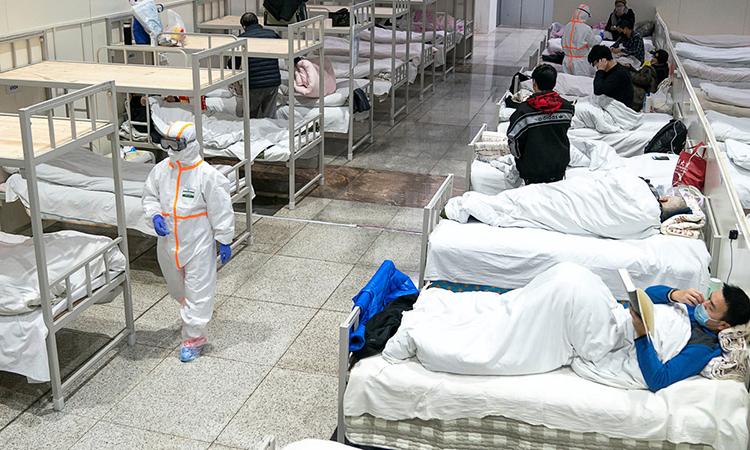 Bệnh viện dã chiến Phương Khoang ở Vũ Hán, nơi Tống nằm điều trị. Ảnh: sina.