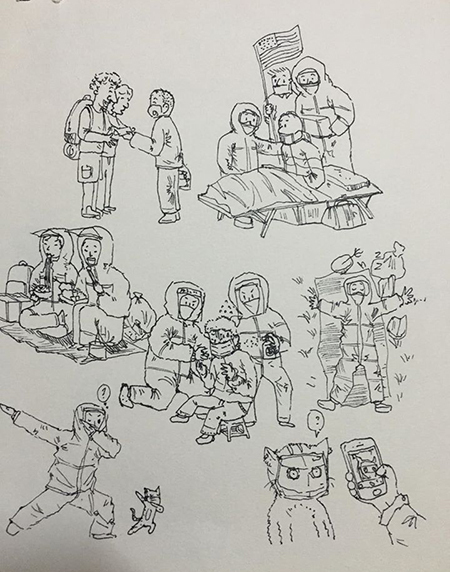 Một trong những ký họa của Long về cácy bác sĩ, nhân viên phục vụ đang trực tiếp tham gia phòng, chống dịch Covid-19. Ảnh: Hiếu Phùng.