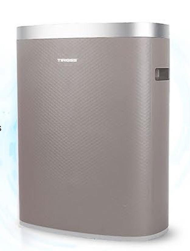 Máy lọc không khí TS9711 thương hiệu Tiross (Ba Lan), sản xuất tại Trung Quốc, trọng lượng 10 kg, kích thước 45 x 30 x 55 cm nhỏ gọn, phù hợp với phòng có diện tích 25 - 45 m2. Máy sử dụng điện áp 220v, công suất 65W, cho lưu lượng không khí 350 m3/h, khả năng lọc khí fomandehit lên đến 60 m3/h, giúp không khí trong phòng được làm sạch nhanh chóng. Công nghệ màng lọc HEPA cấp 12 lọc được cả những hạt bụi kích cỡ nhỏ tới 2.5 pm. Máy dễ sử dụng với tất cả mọi người nhờ bảng điều khiển đơn giảnvà 3 chương trình lựa chọn tùy theo nhu cầu. Thiết kế cảm quang nên máy sẽ tự điều chỉnh độ sáng và tiếng ồn ban đêm, giúp người dùng ngủ ngon. Sản phẩm có giá 4,15 triệu, giảm 14% còn 3,55 triệu.