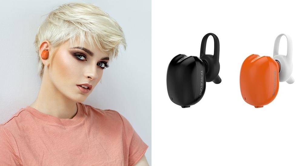 Tai nghe thể thao Bluetooth BC17 của thương hiệu Borofone nhỏ gọn, có khả năng chống thấm mồ hôi, thích hợp mang theo khi chạy bộ, đạp che thể thao.Dung lượng pin1800mAh, thời gian gọi vànghe nhạc lên đến 3 giờ. Các bộ phận được chế tác từ nhựa ABS cao cấp, với hai tông cam, đen. Phụ kiện giá 370.000 trên Shop VnExpress.